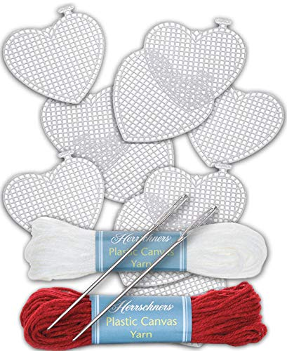 Plastic Canvas Hearts Kit Bundle of 14 Items Includes Set of 10 3-Inch Hearts, 2 Needles for 7 Count Canvas, 2 Skeins Yarn 1 Red, 1 - Plastic Heart Canvas