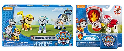 Paw Patrol Action Pup Pack of 4 With Badges - Everest, Robodog, Rubble, and Marshall - Great Paw Patrol Toys For Kids & Great Gift For Kids Birthdays