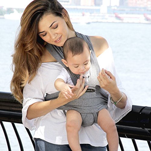 Baby Wrap Ergo Carrier Sling - by CuddleBug - Available in 8 Colors - Baby Sling, Baby Wrap Carrier, Nursing Cover - Specialized Baby Slings and Wraps for Infants and Newborn (Grey) by CuddleBug (Image #6)