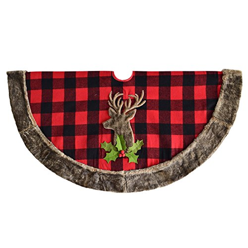 - Gireshome Buffalo Check Plaid with Reindeer Faux Fur Applique Embroidey Center, Faux Fur Border 50
