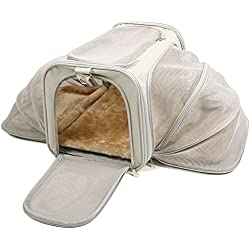 "Jet Sitter Luxury Expandable Pet Carrier V2 - Car Travel Cat Dog Carrier, Soft Sided Kennel, Top Load (19""x12""x12"", Khaki)"