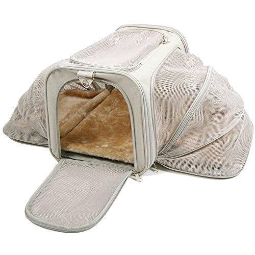Jet Sitter Expandable Pet Dog Cat Carrier – Soft Sided Carriers Cats Dogs Travel Crate (Large)