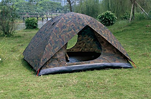 NTK Amazon 3 to 4 person 6.8 by 6.8 Foot Camouflage Camping Hiking Tent 100% Waterproof 1200mm.