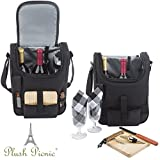 Insulated Travel Wine Tote Bag: Portable 2 Bottle Wine and Cheese Waterproof Black Canvas Carrier Bag Set with Picnic Kit - Corkscrew Wine Opener, Wine Stopper, Wooden Cheese Board and Knife Included