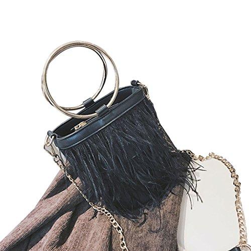 [해외]Hkiss 메탈 서클 미니 가방 술 핸드백 체인 숄더 페더 버킷/Hkiss Metal Circle Mini Bags Tassel Handbag Chain Shoulder Feather Bucket