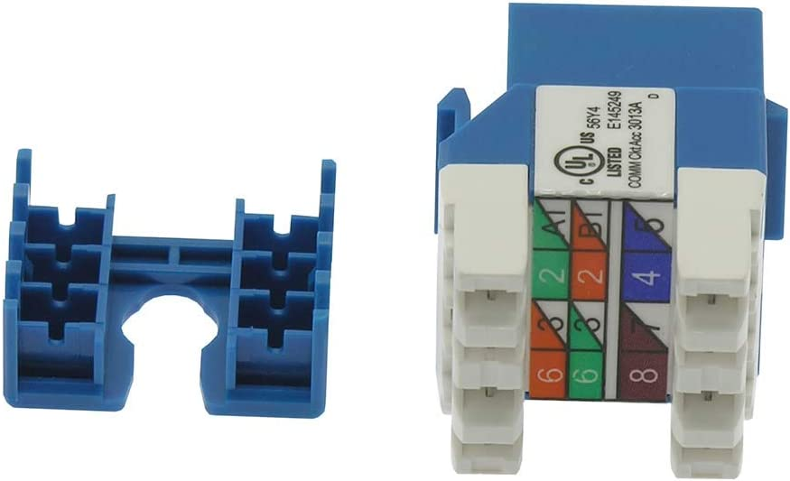 Beszin Cat.5E RJ45 110 Type 180/° Keystone Jack 50-Pack, Green
