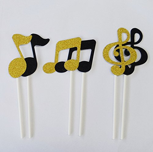 Yunko 12pcs Shiny Musical note Party Fun Cup Cake Decorative Toppers Cupcake Decorating Tools for Halloween Party (Gold and Black)