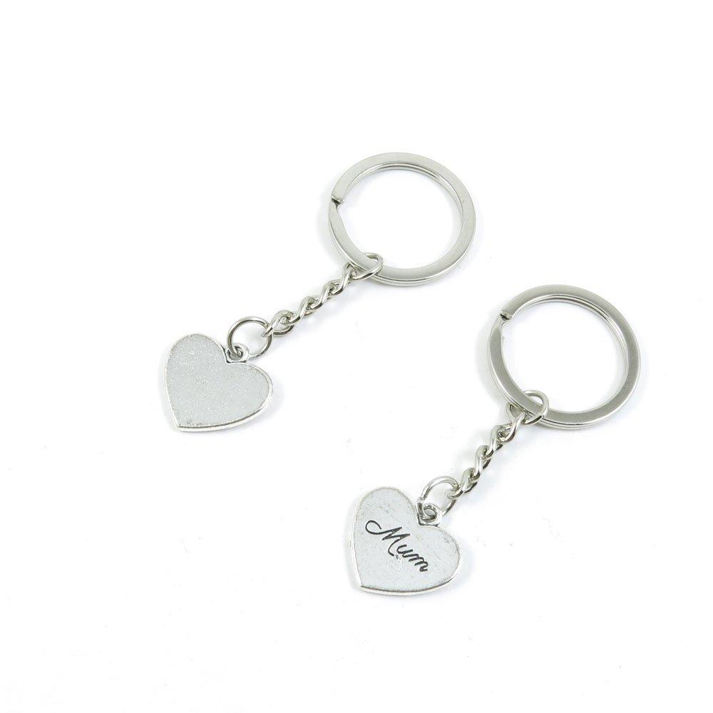 100 Pieces Keychain Door Car Key Chain Tags Keyring Ring Chain Keychain Supplies Antique Silver Tone Wholesale Bulk Lots S3QC2 Mum Love Heart