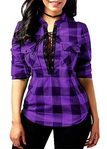 KISSMODA Women's Spring Flannel Plaid Shirt Collar Neck Long Sleeves Tops and...