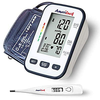 """AmeriLuck FDA Approved Digital Blood Pressure Monitor, 120 Memory, Easy Reading 4"""" Large LCD Display, Extra Long Upper Arm Cuff (8.6-16.5in)"""