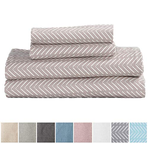 Great Bay Home Extra Soft Heather Jersey Knit (T-Shirt) Cotton Sheet Set. Soft, Comfortable, Cozy All-Season Bed Sheets. Carmen Collection Brand. (Queen, Chevron Tan)