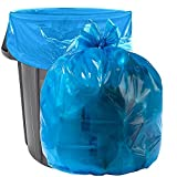 """Aluf Plastics 33 Gallon Blue Trash Bags - (Pack of 100) - 1.5 MIL (Equivalent) - Garbage or Recycling Bags 33"""" x 39"""" - Large Plastic Can Liners - for Industrial, Home, Contractor, Recycling"""