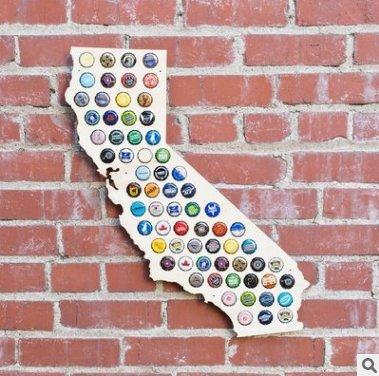 USA Beer Cap Map -Beer Cap Trap Craft Beer Cap Holder-Pine Wood (California)