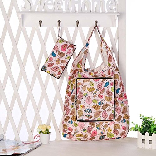 BMC Mixed Design Washable Foldable Wallet Style Nylon Reusable Grocery Bags Tote - (Floral Fun) Set of 3