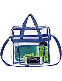 """Clear Tote Bag Stadium Approved,Adjustable Shoulder Strap and Zippered Top,Stadium Security Travel & Gym Clear Bag, Perfect for Work, School, Sports Games and Concerts-12"""" x12"""" x6""""(Blue)"""