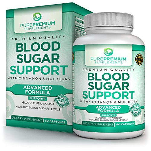 Premium Blood Sugar Support Supplement by PurePremium - Cinnamon, Mulberry, Vitamin C - Glucose Metabolism & Healthy Blood Sugar Levels - Regulate Cholesterol & Promote Cardiovascular Health - 60 Caps
