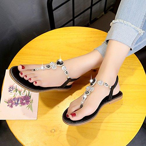 Sandalen Elastische Strass Post Boho Strap Frauen Flip Sommer Strand T Thong Toe Clip Schuhe Sandalen Flops Flache wBqSggRI