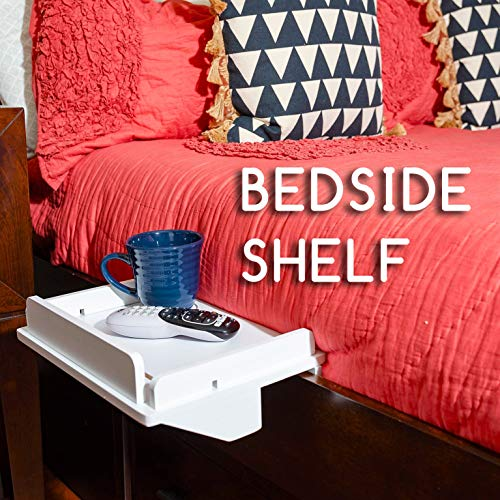 Updated Bedside Caddy Shelf - Sturdy Bunk Bed Or Dorm Room Tray Organizer for Remote Control, Drinks, Laptop, Ipad, and Electronics - Hanging Wooden End Table with Charger Cord Slots (White)