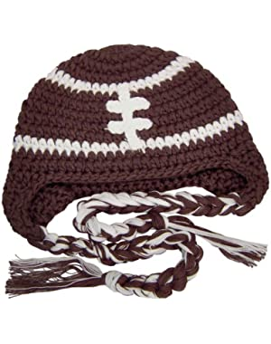 Crochet Football Tassel Beanie Hat - Brown - XL (8 Years to Adult Small)