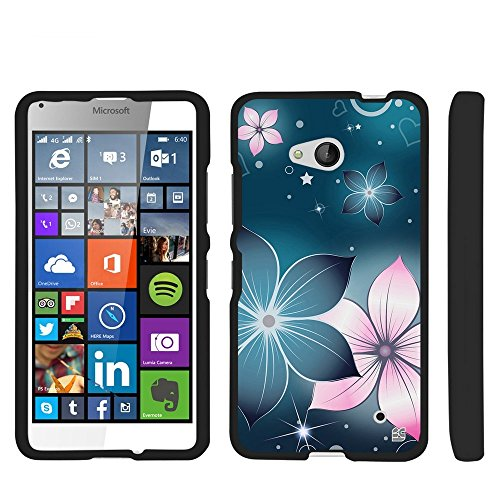 (Beyond Cell For Lumia 640 (T-mobile)(2015 Window Phone)Beyond Cell For Premium Protection Slim Light Weight 2 piece Snap On Non-Slip Matte Hard Shell Rubber Coated Rubberized Phone Case Cover With Design - Blue Mistical Flower Design - Retail Packaging)