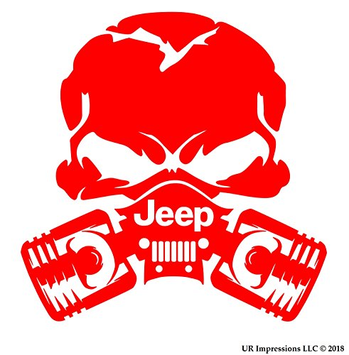 UR Impressions Red Jp Piston Gas Mask Skull Decal Vinyl Sticker Graphics for Jeep 4×4 Grand Cherokee Wrangler Renegade SUV Wall Window Laptop|RED|5.5 Inch|URI028-R