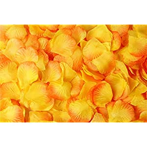 Helenhouse 2000 PCS Artificial Silk Flower Yellow Gradient Rose Petals for Wedding Party Bridal Decoration 70