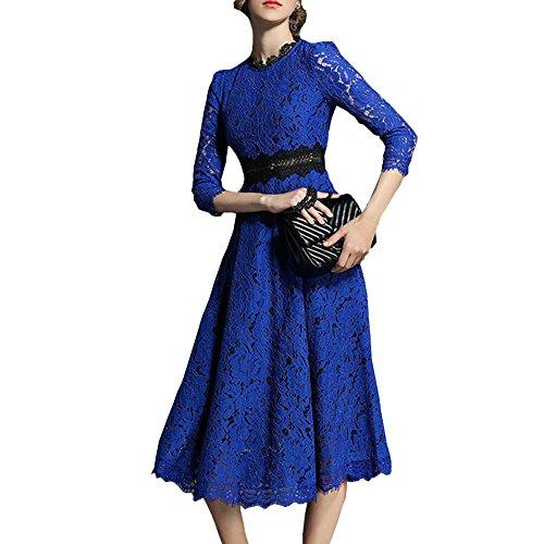Spitze Midi YL09609 4 Damen girl Partykleid Kleid Arm Cocktail Cocktailkleid 3 Hohl Reine Blau Kleider E fwHxI4qx