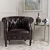 Christopher Knight Home Sultan | Button-Tufted Leather Club Chair with Studded Accents | in Brown
