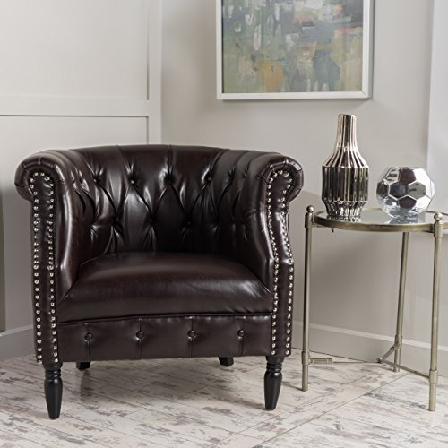 (GDF Studio 299476 Sultan | Button-Tufted Leather Club Chair with Studded Accents | in Brown,)
