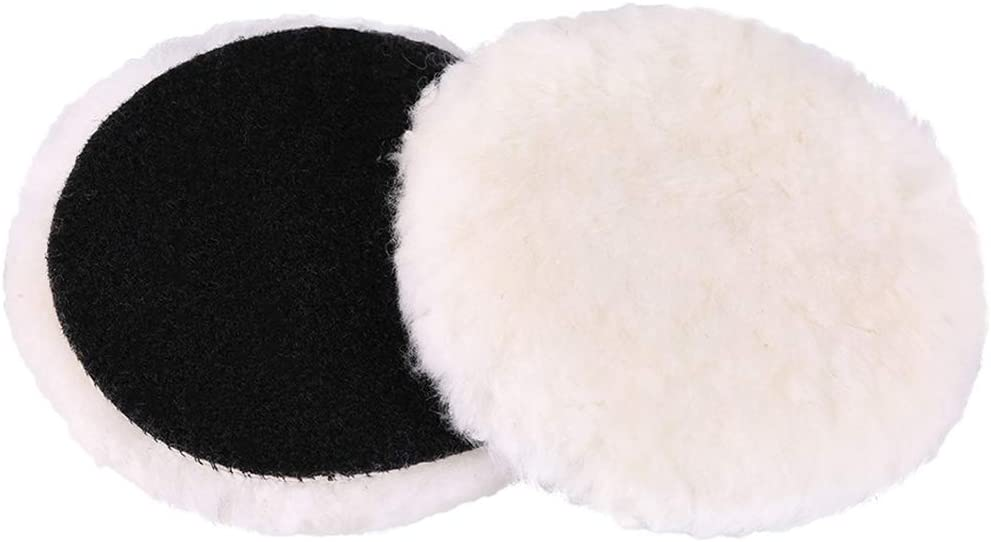 LotFancy 5-Inch Wool Polishing Pads - Car Auto Buffing Pads, Used with Rotary and Random Orbit Sander/Polisher, Pack of 2