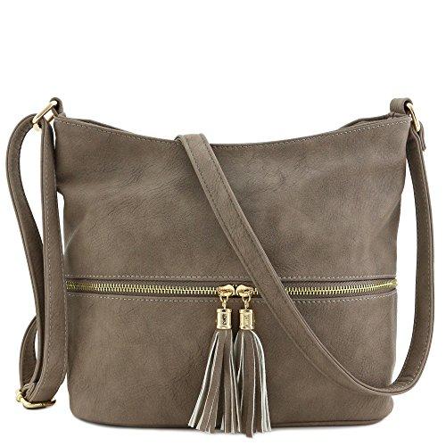 Tassel Zipper Bucket Crossbody Bag Taupe