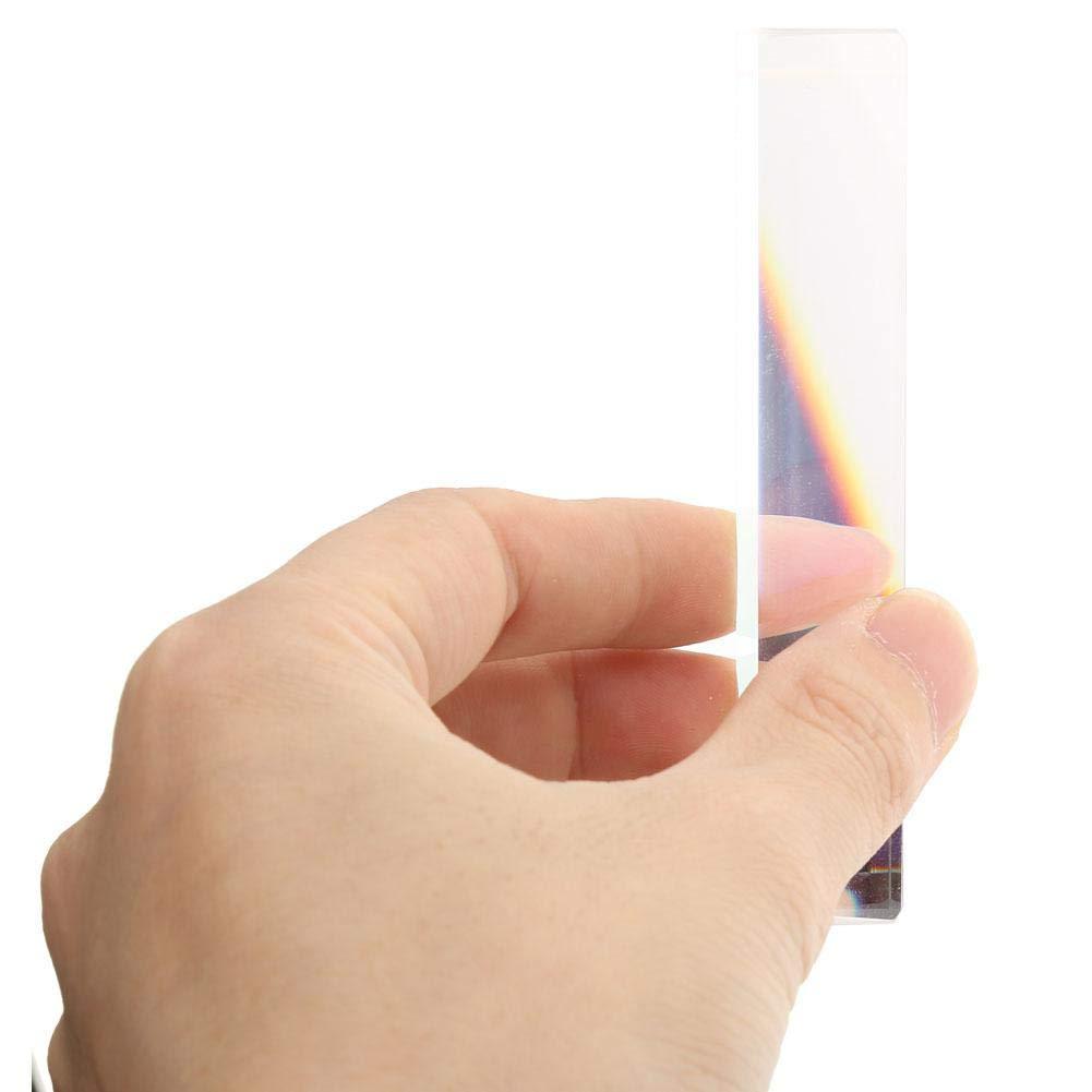 91 /× 21 /× 15mm Rainbow Optical Glass Triplo triangolare Prisma per linsegnamento della fisica Presentazione Apprendimento Fotografia
