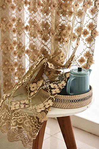 Bedroom Coffee Floral Sheer Curtains Embroidered Lace Curtains Embossed Pearls Luxury European Lace Curtain Elegant Window Gauze Tulle Voile Panel for Dinning Room 1 Panel AiFish W39 x L96 inch ()