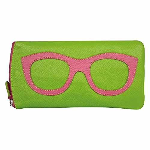 ili New York 6462 Leather Eyeglass Case (Leaf/Hot Pink) ()