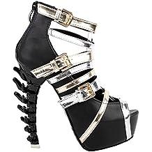 Show Story Punk Black Gold Silver Strappy Buckle Platform Bone Heel Club Sandals,LF80645