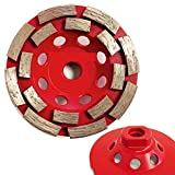 "4 Inch 4"" Diamond Double Row Grinding Sanding Cup Wheel 24 PIECES Set for travertine concrete cement stone masonry surface smoothing repair 5/8""-11 Thread -  Asia Pacific Construction"
