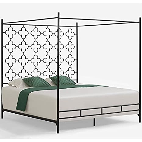 amazoncom metal canopy bed frame king sized adult kids princess bedroom furniture black wrought iron style vintage antique look hang shear curtains or