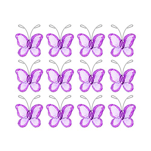 Toyvian 100Pcs Mesh Wire Glitter Butterfly Butterfly Applique Trim for DIY Craft Wedding Party Decorations (Purple)