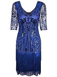Blue 1920s V Neck Beaded Tassel Cocktail Dress With Sleeves