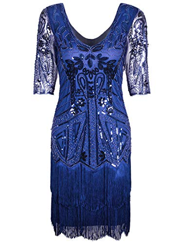 VIJIV Women's Short Flapper Dress 1920s Gatsby Vintage Plus Size V Neck Beaded Art Deco Tassel Roaring 20's Dresses with Sleeves Blue