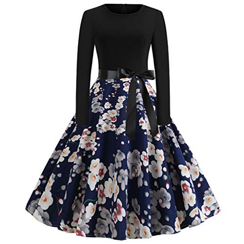YoYoly halloween costumes,Women Vintage Long Sleeve Swing 50s Housewife Casual Evening Party Prom Dress