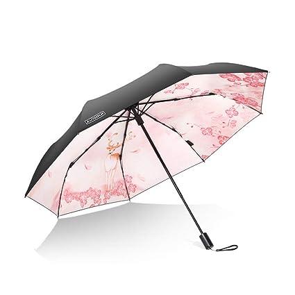 Paraguas plegable automatico Mujer niño Hombre an- Sombrilla antirreflectante para sombrillas Doble con Doble Pliegue