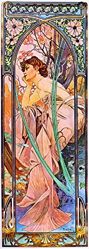 (1899 - Reverie du Soir Evening Reverie Beautiful Woman Classic French Nouveau by artist Alphonse Mucha Vintage France Travel Advertisement Picture Poster Print. Picture measures 5 x 13.5)
