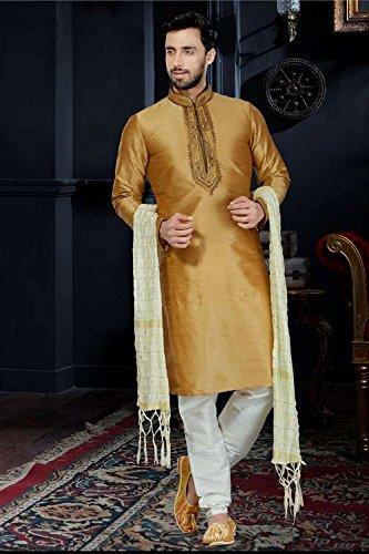 itsindiancrafty Mens Kurta Pajama Wedding Art Dupion Brown India Party Wear Set Of 3