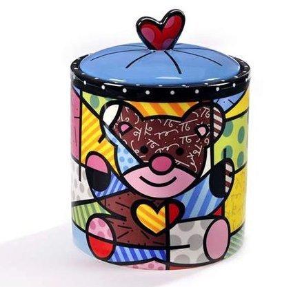 Romero Britto Teddy Bear Ceramic Cookie Jar