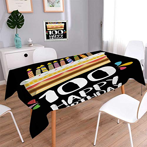 Anmaseven 100th Birthday Oblong Dinner Picnic Table Cloth Old Legacy 100 Birthday Party Cake Candles on Black Major Milestone Backdrop Waterproof Table Cover for Kitchen Multicolor Size: W54 x L72
