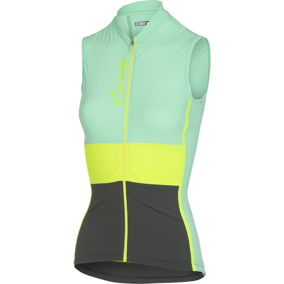 Castelli 2017 レディース Protagonistaノースリーブサイクリングジャージ - A17066 B079C53LLV Small|Pastel Mint/Yellow Fluo/Forest Gray Pastel Mint/Yellow Fluo/Forest Gray Small