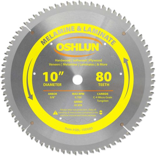 -Inch 80 Tooth HI-ATB Saw Blade with 5/8-Inch Arbor for Melamine and Laminates ()