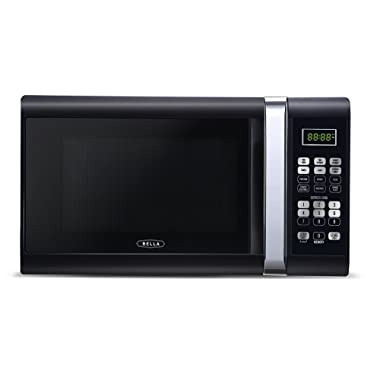 Bella 1000-Watt Microwave Oven, 1.1 Cubic Feet, Black with Chrome