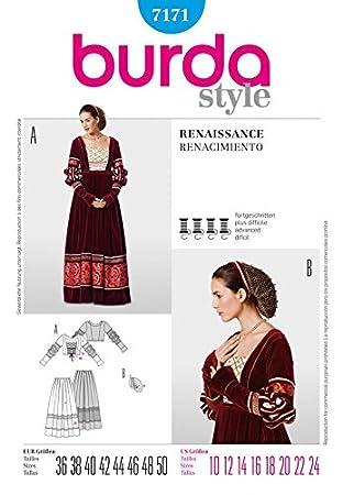 Burda Damen Schnittmuster 7171 – Renaissance Rock & Mieder Kostüm ...